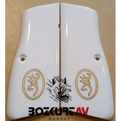 Browning HP 9 mm Beyaz Pleksi- Sarý Gömme Tabanca Kabzasý