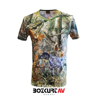 Yiðit Avcýlýk Kurzhaar Desenli 3D Kamuflaj T-Shirt (Kýsa Kollu)