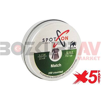Spot On Match 5,5 mm 5 Paket Havalý Tüfek Saçmasý (15,12 Grain - 1000 Adet)