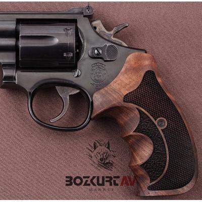 Smith & Wesson 357 Roundbutt Ceviz Tabanca Kabzasý