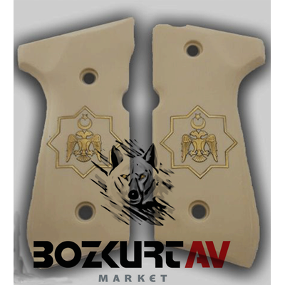 Beretta 92 FS 9 mm Fildiþi Pleksi Tasarým (Selçuklu Kartalý) Tabanca Kabzasý