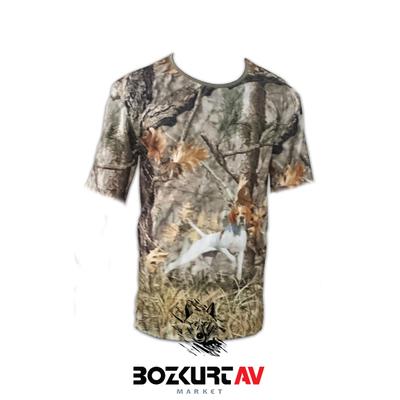 Yiðit Avcýlýk Sarý Pointer Desenli 3D Kamuflaj T-Shirt (Kýsa Kollu)