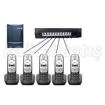 Fortel Z308 3 Harici 5 Dahili PBX Gigaset A415 Kablosuz Telefon Santrali