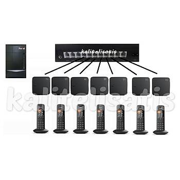 Fortel Z308 3 Harici 7 Dahili PBX Gigaset C570 Kablosuz Telefon Santrali