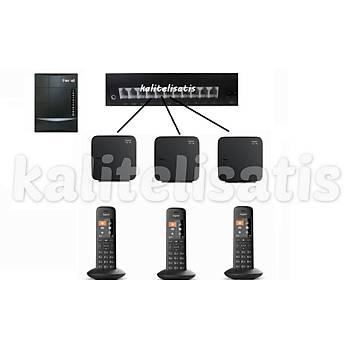 Fortel Z308 3 Harici 3 Dahili PBX Gigaset C570 Kablosuz Telefon Santrali