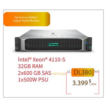 HPE DL380 GEN10 XEON SILVER 4110 CPU 32GB 2x600GB SAS (8x2.5'') HOTPLUG P408i-a 1x500W PSU