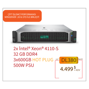 HPE DL380 GEN10 2x XEON SILVER 4110 CPU 32GB 3x600GB SAS (8x2.5'') HOTPLUG P408i-a 1x500W PSU + Win.Server 2016 STD