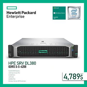 HPE SRV DL380 GEN10 X-S-4208 1P (2X16GB) 8X1.2TB SAS 10K 8SFF 2X500W POWER+WINDOWS SERVER 2019 ESSENTÝALS