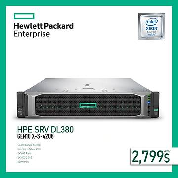 HPE SRV DL380 GEN10 X-S-4208 1P (2X16GB) 2X300GB SAS 8SFF 500W POWER