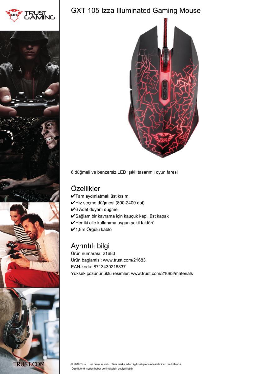 fe0b8899220 Trust 21683 GXT 105 Gaming Mouse «azaraks'da Aradığın Ürüne Bir de ...