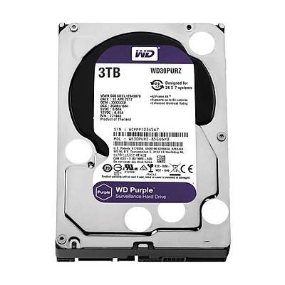 WD Purple 3.5 SATA III 6Gb/s 3TB 64MB 7/24 Guvenlik WD30PURZ