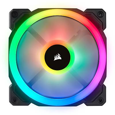 CORSAIR CO-9050072-WW LL120 RGB 120mm DUAL LIGHT LOOP RGB LED PWM FAN 3 FAN PACK WITH LIGHTING NODE PRO