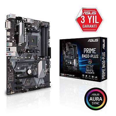 ASUS PRIME B450-PLUS AMD B450 SOKET AM4 DDR4 3200 HDMI DVI M2 USB3.1 AURA RGB ATX