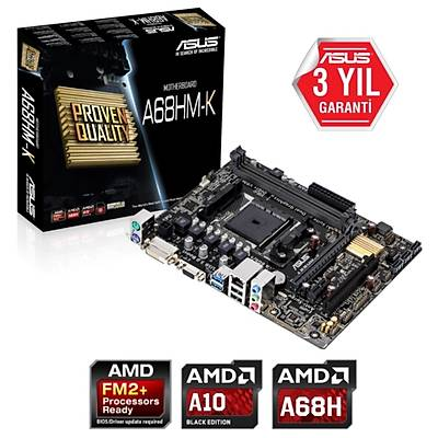 Asus A68HM-K DDR3 2400MHz S+V+GL FM2+ (mATX) Anakart
