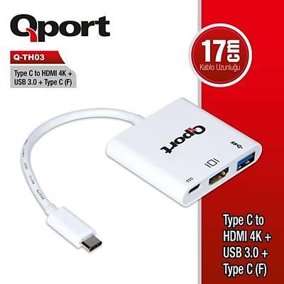 Qport Q-Th03 Type-C To Hdmi 4K+Usb 3.0+Type-C Çevirici