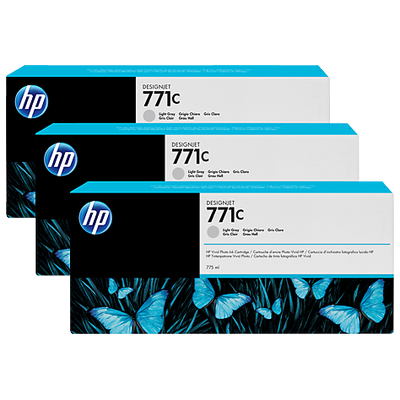 HP B6Y38A 771C 3'lü Paket 775 ml Açýk Gri DesignJet Mürekkep Kartuþlarý