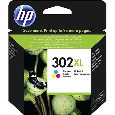 HP F6U67A 302XL Üç Renkli Yüksek Kapasite Orijinal Mürekkep Kartuşu