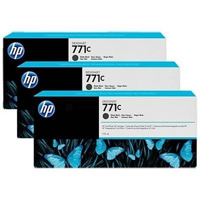 HP B6Y31A (771C) MAT SIYAH 3 LU PAKET 775 ML GENIS FORMAT MUREKKEP KARTUSU
