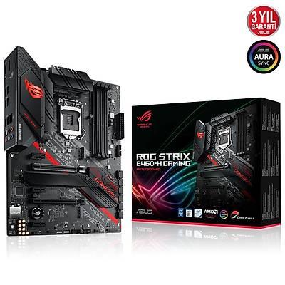 ASUS ROG STRIX B460-H GAMING Intel B460 LGA1200 DDR4 2933 DP HDMI Çift M2 USB3.2 AURA RGB ATX 128GB Ram Desteði ANAKART