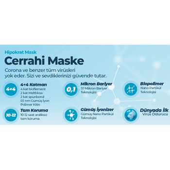 4 + 4  Katlý Maske 10 lu Cerrahi Maske