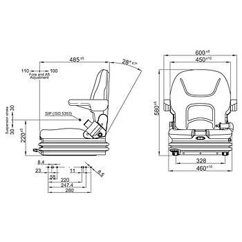 Tecthrone Serisi Orta Büyüklük Forklift Koltuk 12 / 24 Volt Elektrikli Koltuk