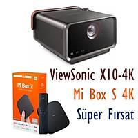 VIEWSONIC X10-4K Kýsa Mesafe 4K UHD LED Akýllý Ev Sinemasý, Xiaomi Mi Box S 4K birlikte