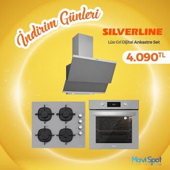 Silverline Ankastre Set Gri Renk Cam Dijital Ekran
