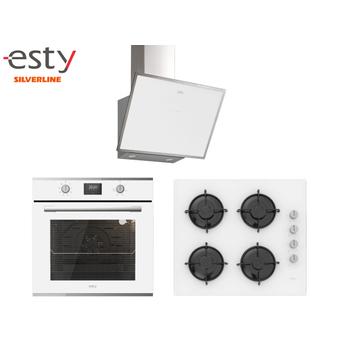 Esty Ankastre Set Beyaz Renk Cam Dijital Ekran ( AEF6605W01 - ACO5360W01 - 3473 )