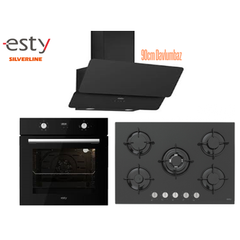 Esty Ankastre Set Siyah Renk Cam Dijital Ekran 5 Gözlü