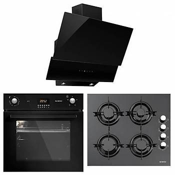 KUMTEL 18-06 Ankastre Set Dijital Panel Yatay Siyah Renk