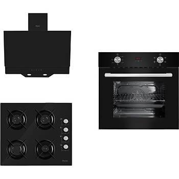 FERRE Italiano Siyah Cam Ankastre Set 6010 - S 2140 CE - D016