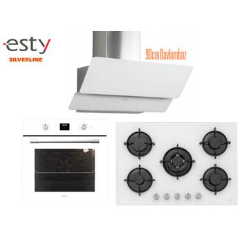 Esty Ankastre Set Beyaz Renk Cam Dijital Ekran 5 Gözlü