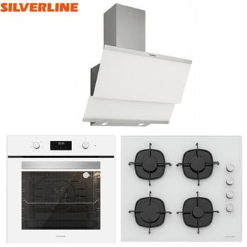 Silverline Ankastre Set Beyaz Renk Cam Dijital Ekran