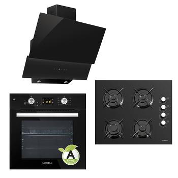 LUXELL 18-09 Ankastre Set Dijital Ekran Siyah Cam