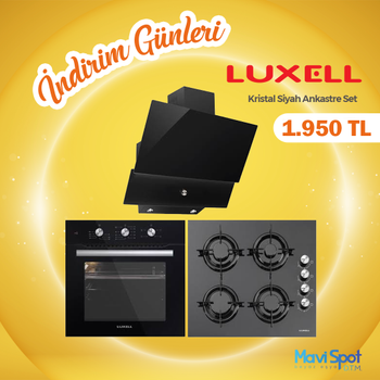 LUXELL Kristal Siyah Cam Ankastre Set
