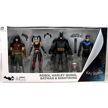 DC Collectibles Arkham City: Harley Quinn, Batman, Nightwing, & Robin Action Figure 4 Pack