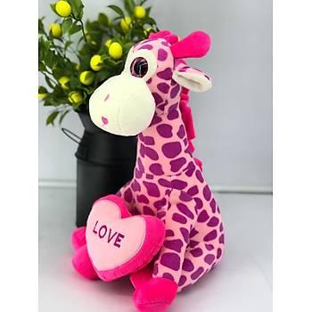 Pembe Kalpli Zürafa 40 cm