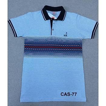 CAS-77 Desenli Polo Yaka Pike Tshirt