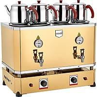 Remta 4 Demlikli Jumbo Çay Makinesi Elektrik + Gazlý CE Þamandýralý 46 lt