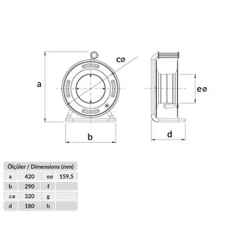 1x16A 220V 4 Adet Prizli Metal Makara 3x2,5mm TTR 50 metre Kapasiteli BM3-4403-0000