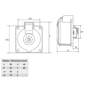 3x32A IP 44 Plastik Makine Priz  BK6-3504-2410