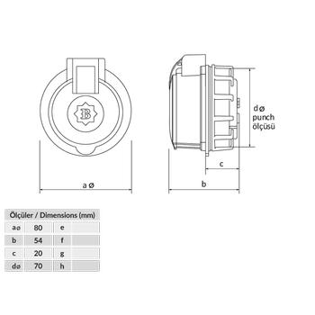 3x25A Trifaze Kauçuk - Plastik Somunlu Priz BP2-2504-4440