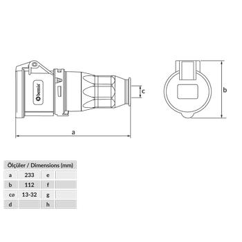 4x63A Uzatma Priz Pilotlu IP44 BC1-4504-2312