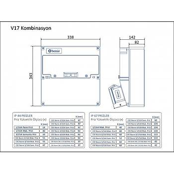 V17 Kombinasyon 5x32A. 380V. 2 Adet . Ön - 1x16A. 220V. 1 Ad. P.P. Ön BD4-2234-1020