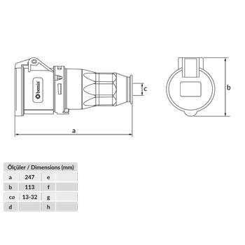 5x63A Uzatma Priz Pilotlu IP44 BC1-4505-2312
