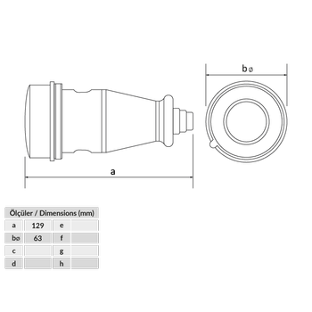 3x16A Trifaze Kauçuk Plastik  Uzatma Priz BK6-1504-2311