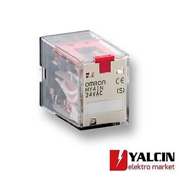 Röle, soketli, 14 pinli, 4PDT, 5 A, mekanik indikatör, LED & kilitlenebilir test switchi, 24 VDC OMR-MY4IN24VDC