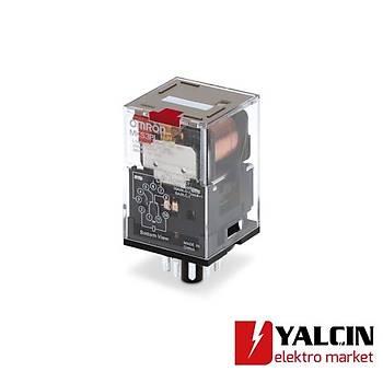 Röle, soketli, 8 pinli, DPDT, 10 A, mekanik indikatör, kilitlenebilir test butonu, 24 VDC OMR-MKS3PI-5 DC24
