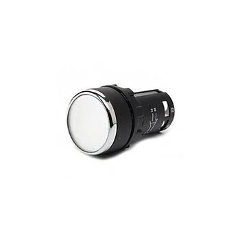 22mm  Düz Kafa Yaylý IP 40 Monoblok Kumanda Buton Beyaz NO+1NC MB102DB