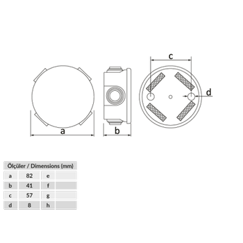 70 mm Plastik Kutu Buat IP54  BB2-0141-0003